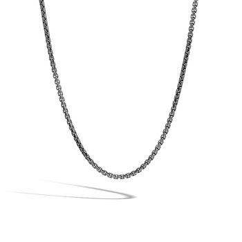 2.7MM Box Chain Necklace in Blackened Silver