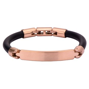 Matte Finished Rose Gold Plated Bar ID Rubber Engravable Bracelet