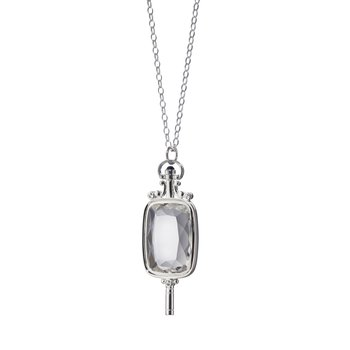 Rectangular Key Necklace in Silver