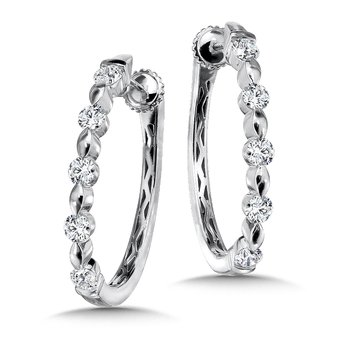 Locking Diamond Oval Hoops in 14K White Gold with Platinum Post