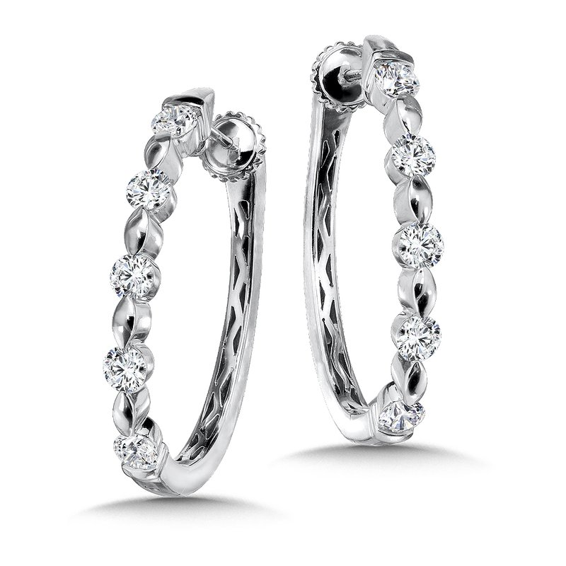 Caro74 Locking Diamond Oval Hoops in 14K White Gold with Platinum Post