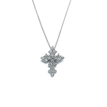 18KT GOLD LARGE GOTHIC CROSS DIAMOND PENDANT