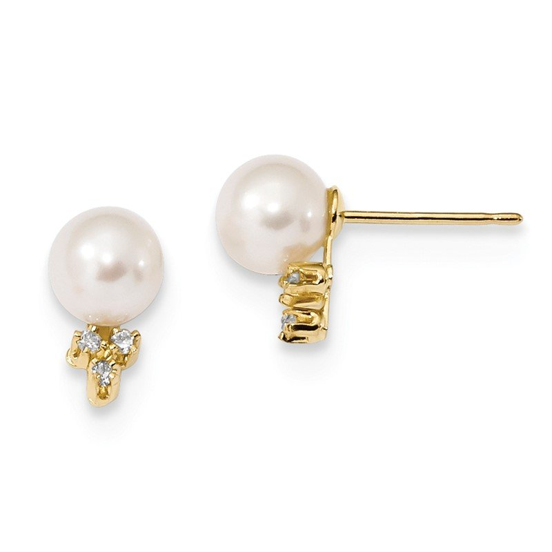 Quality Gold 14k 6-7mm White Round Freshwater Cultured Pearl .06ct Diamond Post Earrings