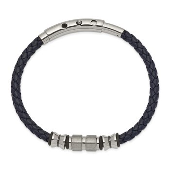 Stainless Steel Brushed & Polished Blk IP/Rubber Blue Leather Adj Bracelet