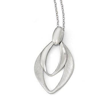 Leslie's Sterling Silver Polished and Brushed w/2in ext. Necklace