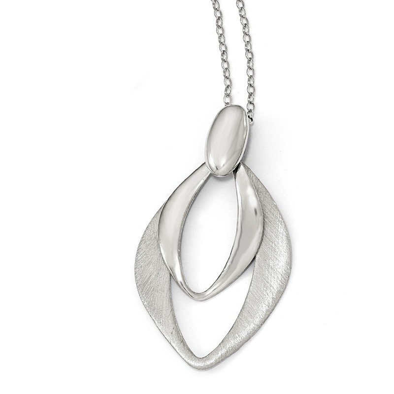 Leslie's Leslie's Sterling Silver Polished and Brushed w/2in ext. Necklace