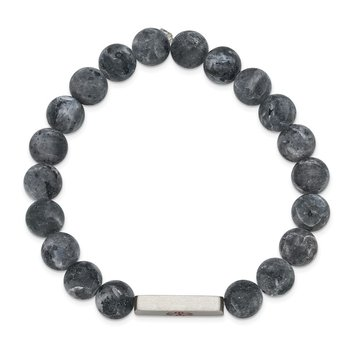 Stainless Steel Brushed Enamel Medical ID Labradorite Bead Stretch Bracelet