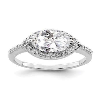 Sterling Silver Rhodium-plated 10x5 Marquise CZ Ring