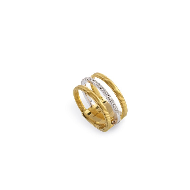 Marco Bicego Masai Three Row Pave Diamond Ring In Yellow Gold