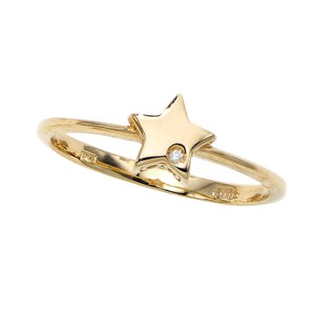 14K Gold .005ct Diamond Star Ring