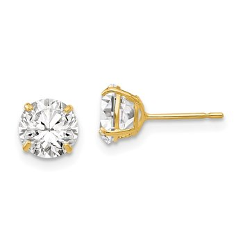 14k 6mm Round CZ Post Earrings