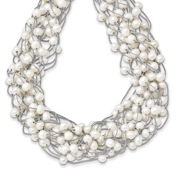 Sterling Silver RH 5.5-6.5mm White FWC Pearl Multi-strand Necklace