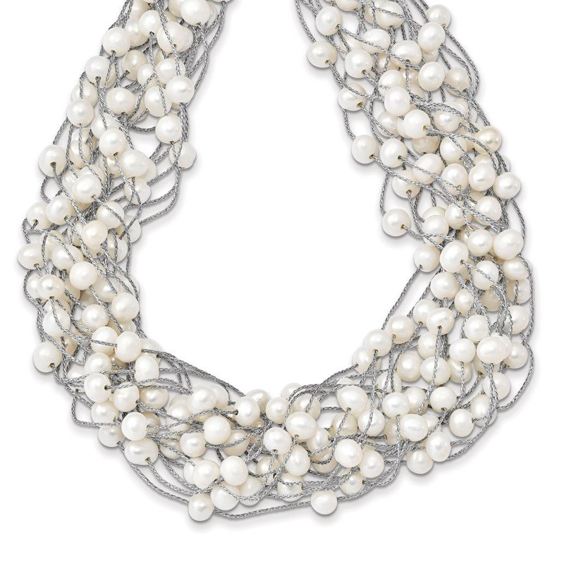 Quality Gold Sterling Silver RH 5.5-6.5mm White FWC Pearl Multi-strand Necklace