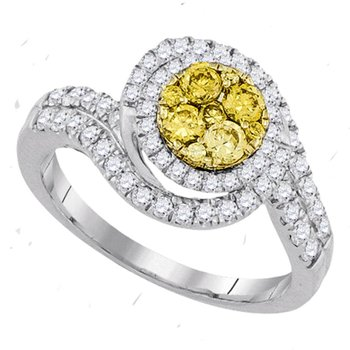 14kt White Gold Womens Round Yellow Diamond Halo Cluster Swirl Ring 1.00 Cttw