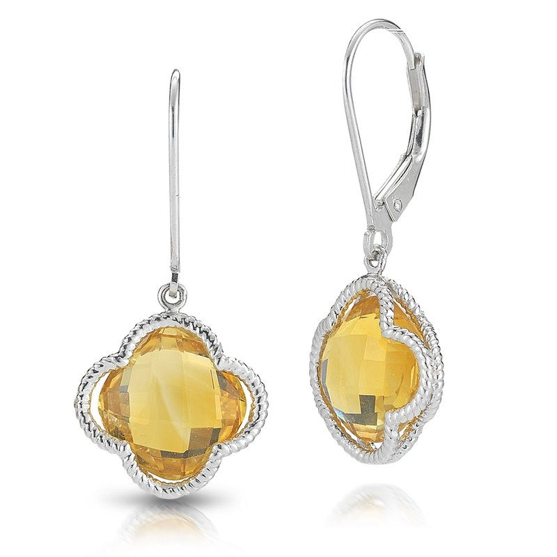 Shula NY Sterling Silver Citrine Clover Drop Earrings