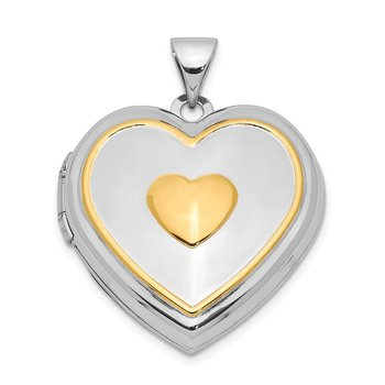 Sterling Silver Rhodium & Gold-plated w/ Key Charm Inside 21mm Heart Locket