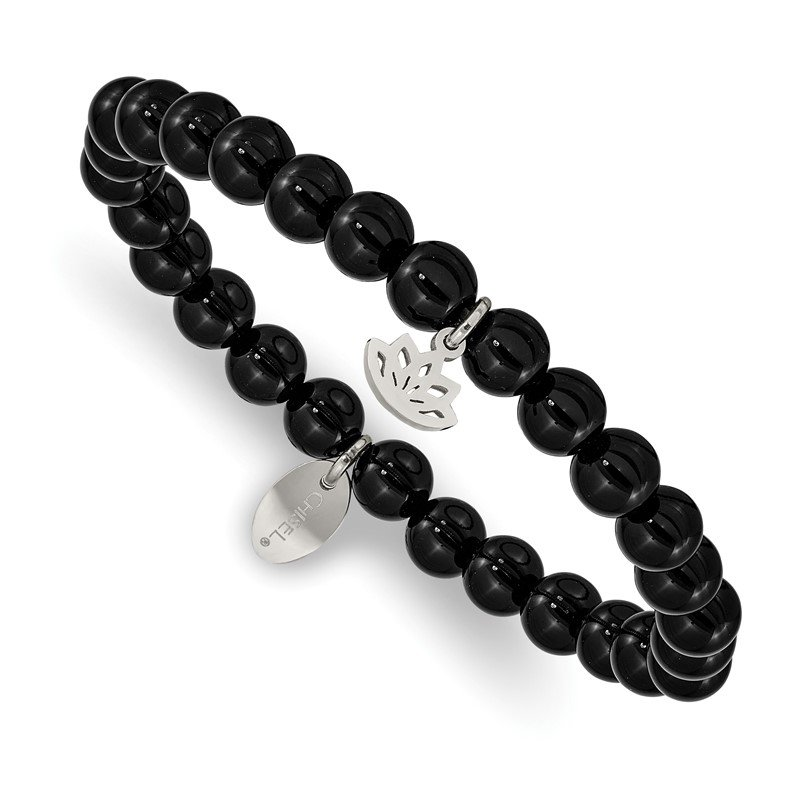 Chisel Stainless Steel Polished Lotus Black Agate Beaded Stretch Bracelet