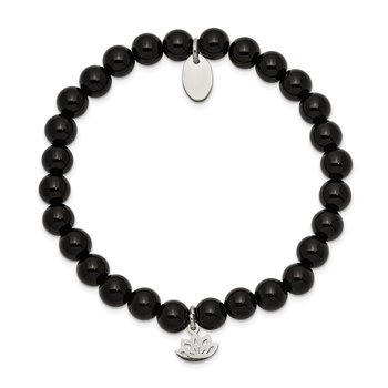 Stainless Steel Polished Lotus Black Agate Beaded Stretch Bracelet
