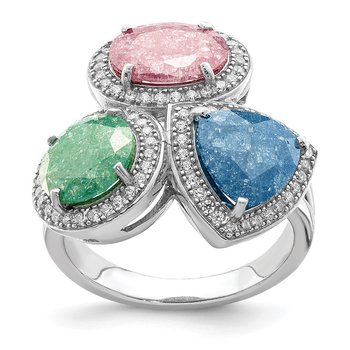 Sterling Silver Rhodium-plated Multi-color Ice CZ Ring