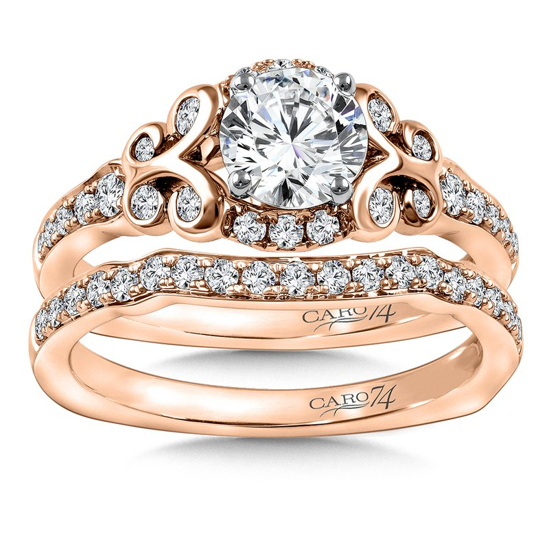 Caro74 Diamond Engagement Ring Mounting in 14K Rose Gold with Platinum Head (.33 ct. tw.)