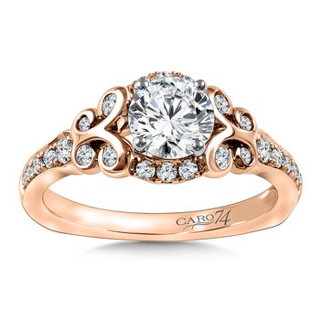 Diamond Engagement Ring Mounting in 14K Rose Gold with Platinum Head (.33 ct. tw.)