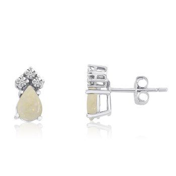 14k White Gold Opal Pear Earrings with Diamonds