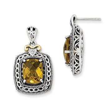Sterling Silver w/14k Diamond & Whiskey Quartz Earrings