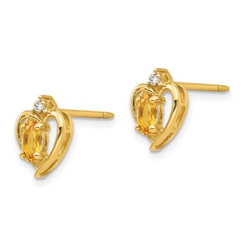 14k Citrine and Diamond Heart Earrings