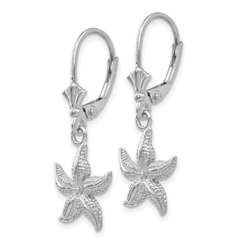 14K White Gold Starfish Leverback Earrings