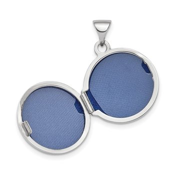 14k White Gold Polished Domed 16mm Round Locket