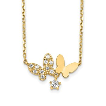 14K Butterflies CZ with 2IN EXT Necklace