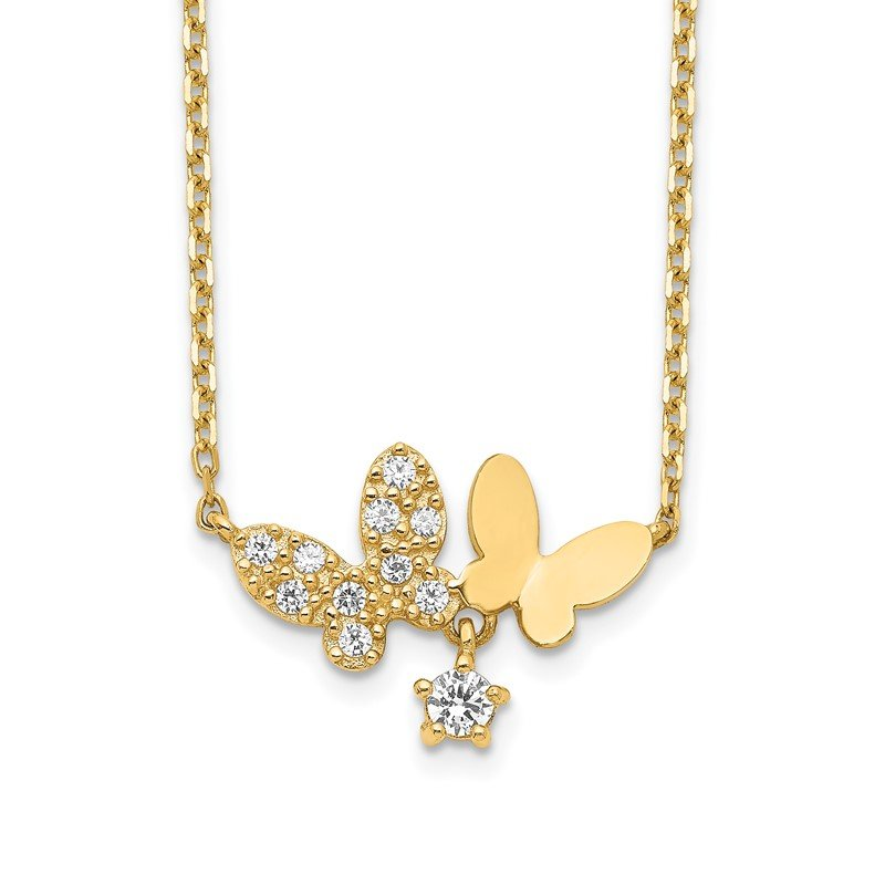 Quality Gold 14K Butterflies CZ with 2IN EXT Necklace