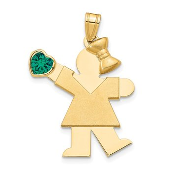 14k Girl with CZ May Birthstone Charm