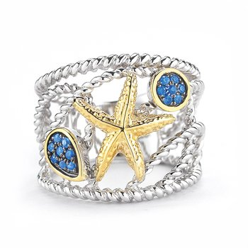 "Sterling Silver and 14K Yellow Gold Starfish Ring with Sapphires 3/4"" wide on top"