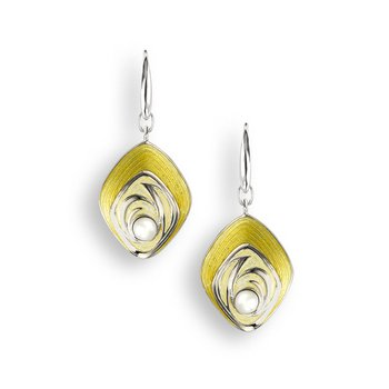 Yellow Diamond-Shaped Wire Earrings.Sterling Silver-Freshwater Pearls