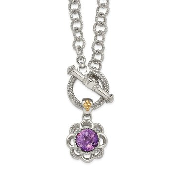 Sterling Silver w/ 14K Accent Amethyst & Diamond 18in Toggle Necklace