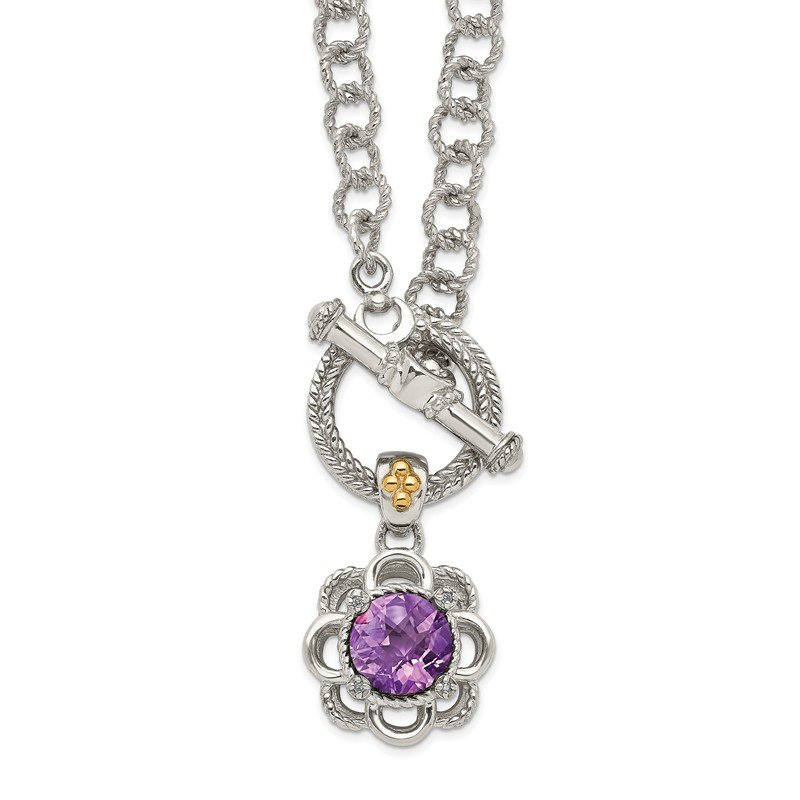 Shey Couture Sterling Silver w/ 14K Accent Amethyst & Diamond 18in Toggle Necklace