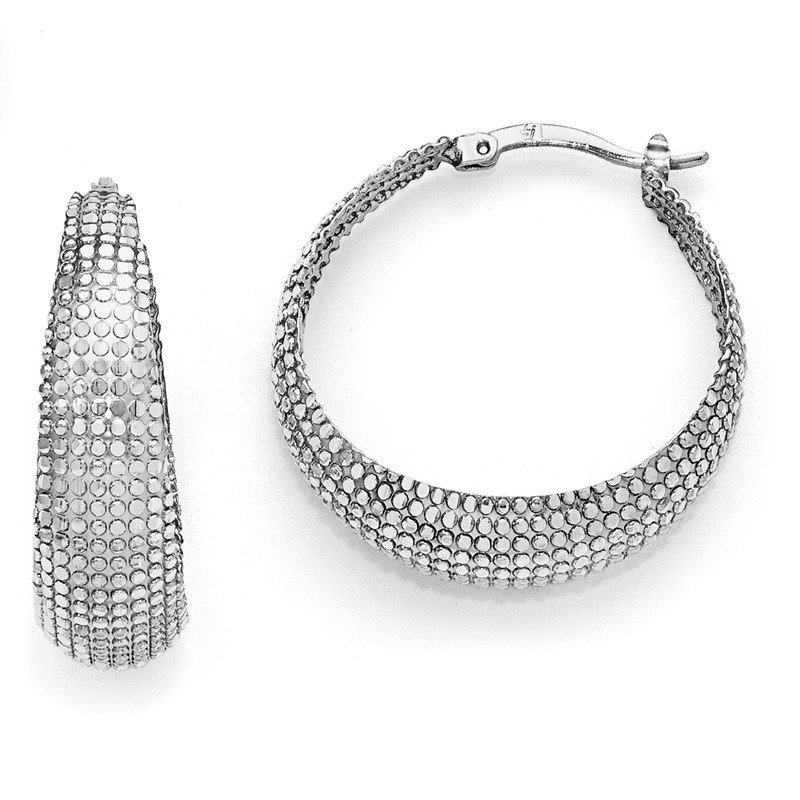 Leslie's Leslie's Sterling Silver Diamond-cut Hinged Hoop Earrings