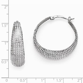 Leslie's Sterling Silver Diamond-cut Hinged Hoop Earrings