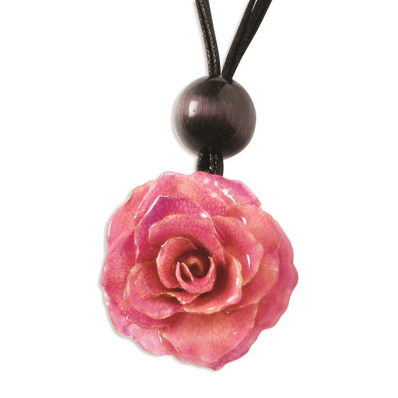 Quality Gold Lacquer Dipped Pink Rose Choker w/ Black Cotton Cord