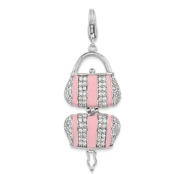 Sterling Silver Pink Enameled CZ Handbag w/Lobster Clasp Charm