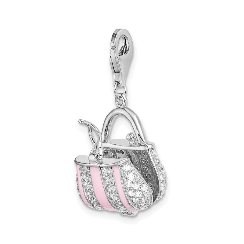 Lester Martin Online Collection SS RH Pink Enameled CZ Handbag w/Lobster Clasp Charm