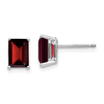 14k White Gold 7x5mm Emerald Cut Garnet Earrings