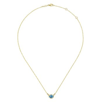 14k Yellow Gold Oval Swiss Blue Topaz & Diamond Necklace