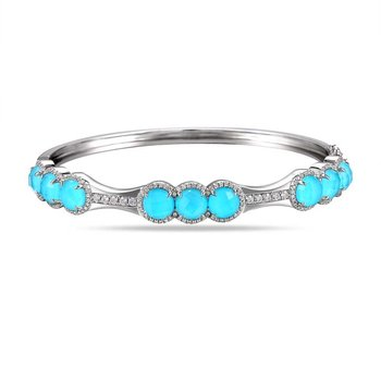 14K doublet Turquoise 16.40C & 166 Diamonds 0.70C bangle