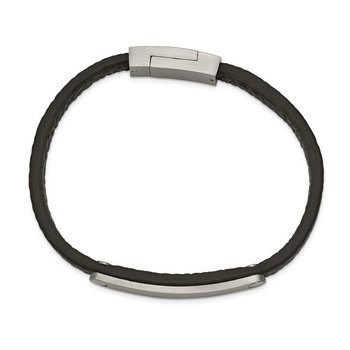 Stainless Steel Brushed Black Leather 8.25in ID Bracelet