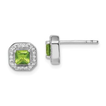 Sterling Silver Rhodium Plated Square Green and Clear CZ Post Earrings