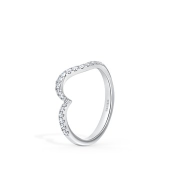 Contoured Wave Diamond Wedding Band