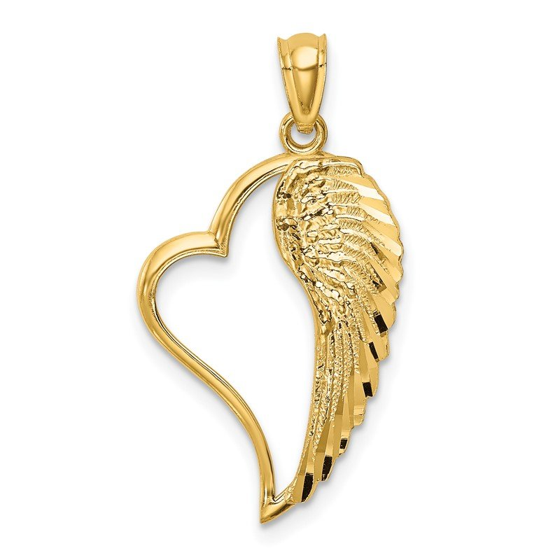 Quality Gold 14K Polished Heart and Wing Pendant