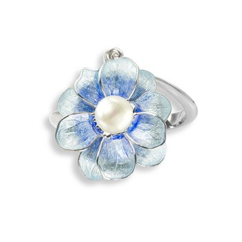 Blue Camellia Ring.Sterling Silver-Freshwater Pearl